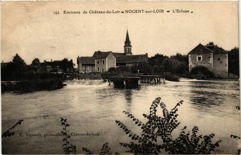 Carte postale ancienne Env. de Chateau-du-Loir - Nogent-sur-Loir - L'Ecluse à Nogent-sur-Loir