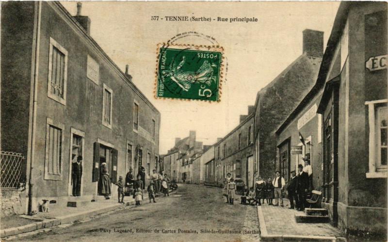 Carte postale ancienne Tennie - Rue principale à Tennie