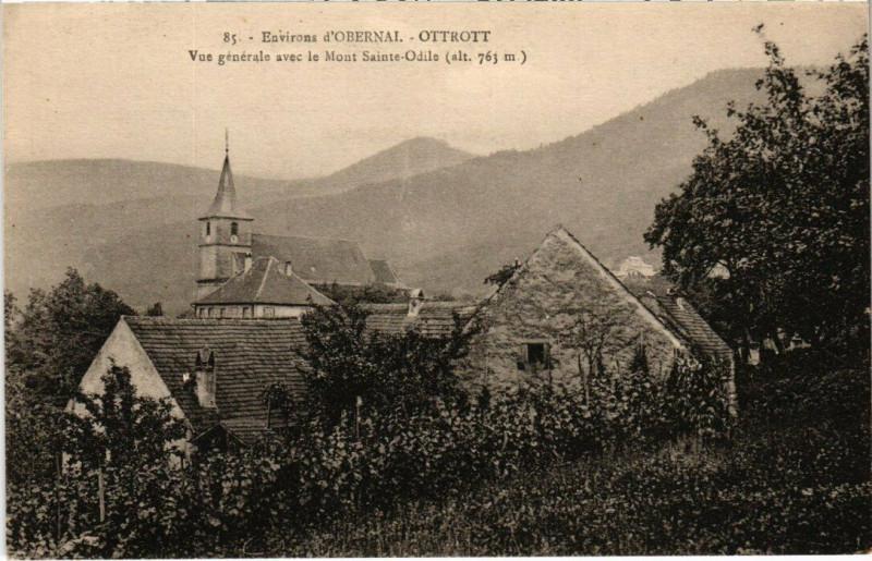 Carte postale ancienne Ottrott - Vue générale avec le Mont Saint-Odile à Ottrott