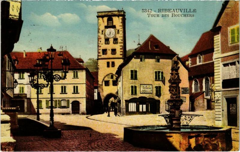 Carte postale ancienne Ribeauville Tour des Bouchers à Ribeauvillé