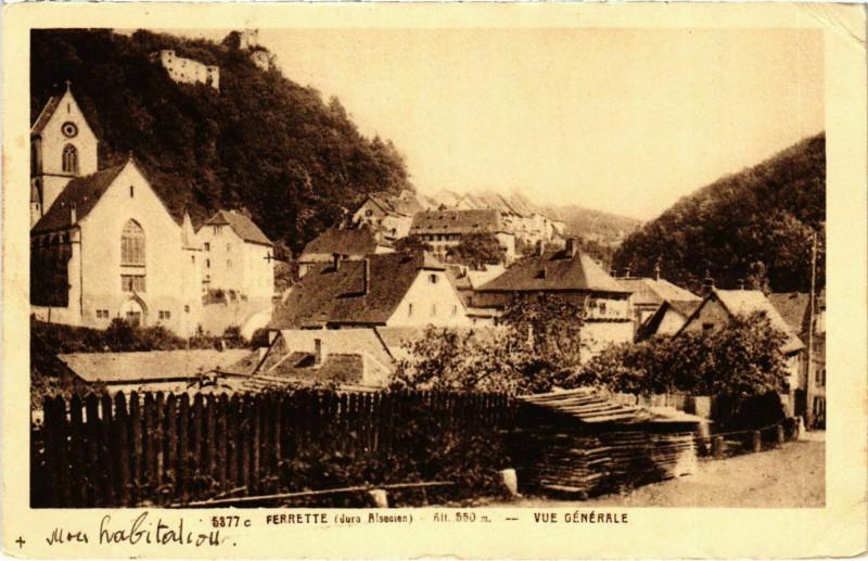 Carte postale ancienne Ferrette vue generale à Ferrette