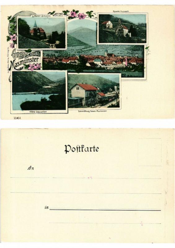 Carte postale ancienne Litho Gruss aus Masmunster . Alsace à Munster