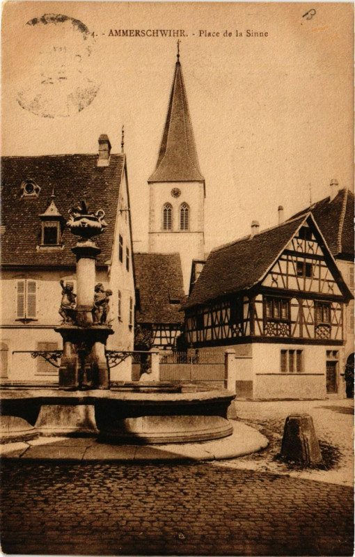 Carte postale ancienne Ammerschwihr - Place de la Sinne à Ammerschwihr