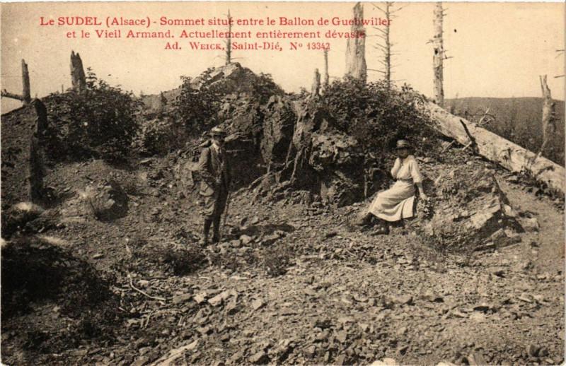 Carte postale ancienne Sudel Sommet situe entre Ballon de Guebwiller et Vieil A à Guebwiller