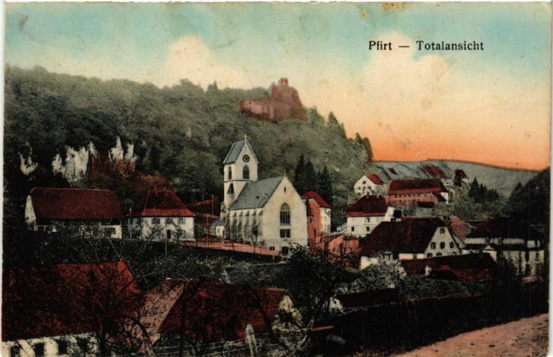Carte postale ancienne Ferrette - Pfirt - Totalansicht - Vue générale à Ferrette
