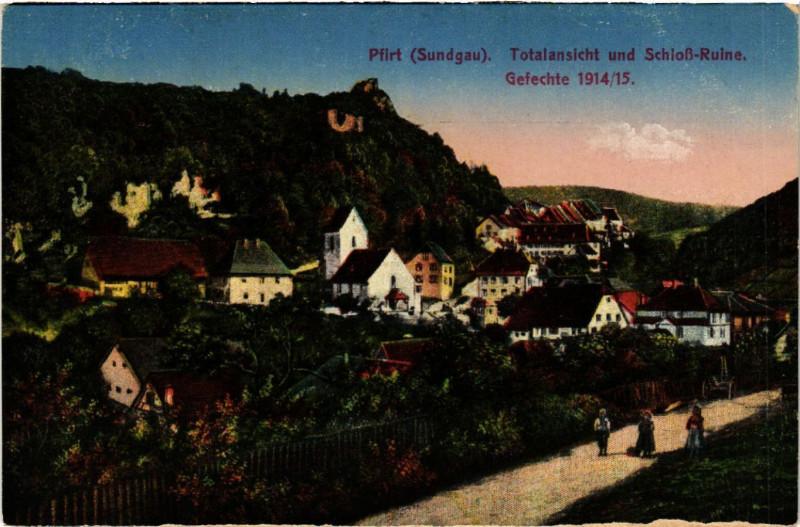 Carte postale ancienne Ferrette - Pfirt - Sundgau - Totalansicht und Schloss-Ruine à Ferrette