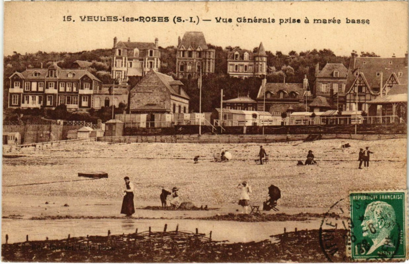Carte postale ancienne Veules-les-Roses - Vue générale prise a marée basse à Veules-les-Roses
