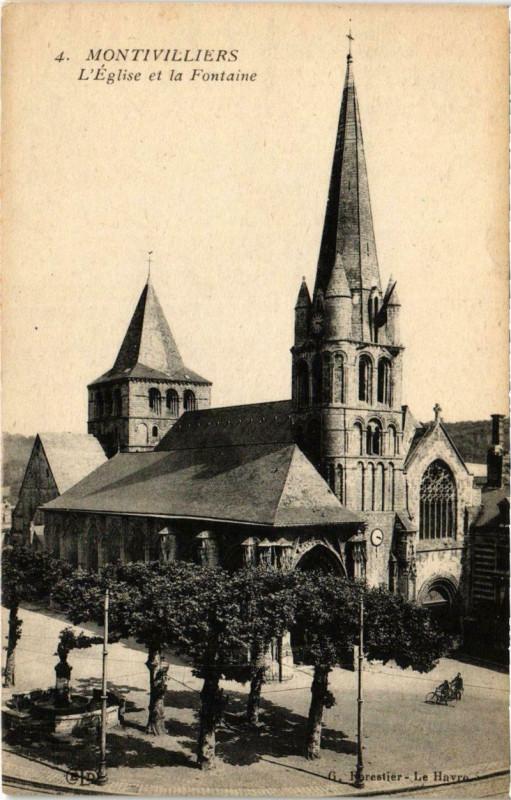 Carte postale ancienne Montivilliers - L'Eglise et la Fontaine à Montivilliers