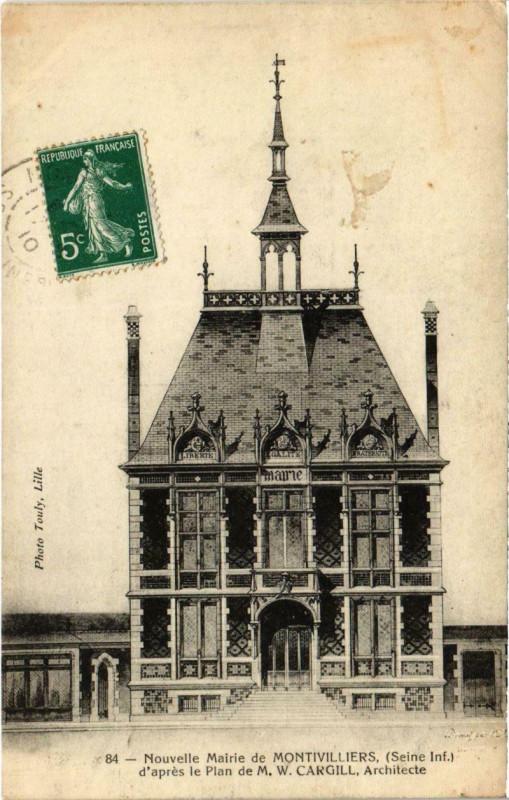 Carte postale ancienne Nouvelle Mairie de Montivilliers - D'Apres le Plan de M.W. Cargill à Montivilliers