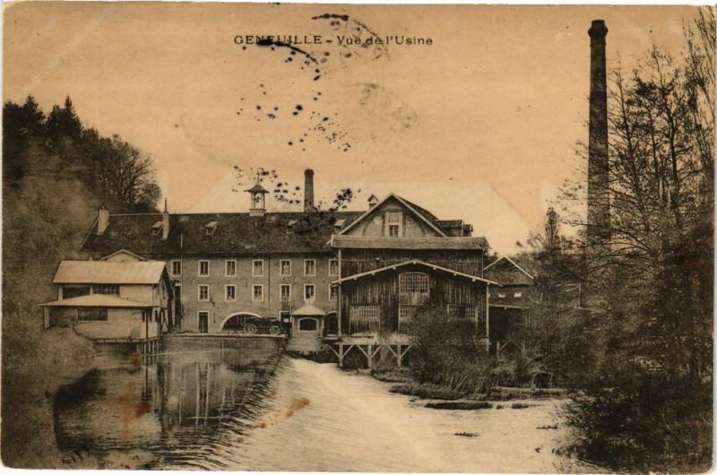 Carte postale ancienne Geneuille - Vue de l'usine à Geneuille