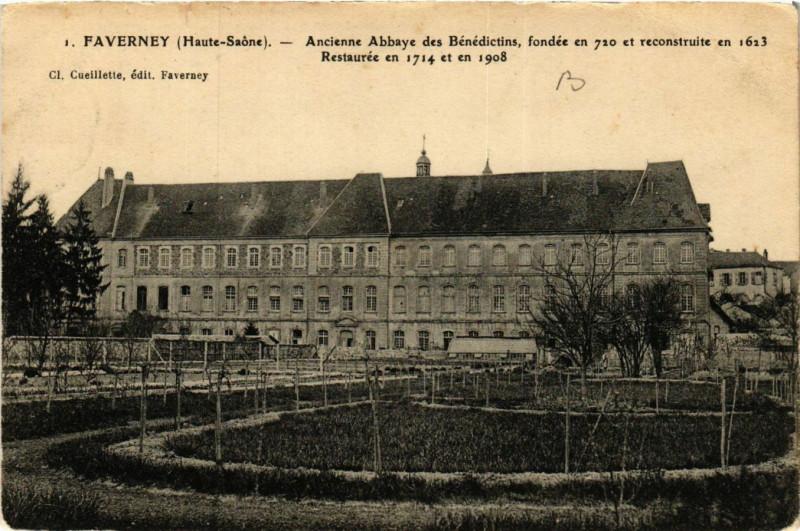 Carte postale ancienne Faverney - Ancienne Abbaye des Benedictins à Faverney