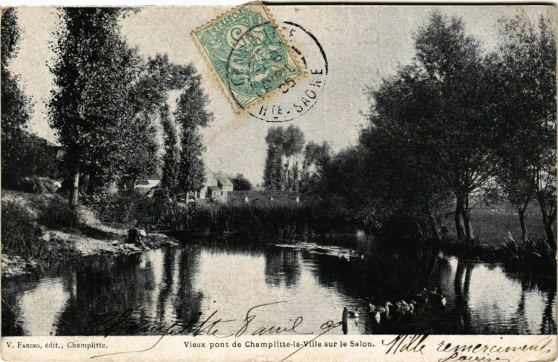 Carte postale ancienne Champlitte - Vieux Pont de Champlitte-la-Ville sur le Salon à Champlitte