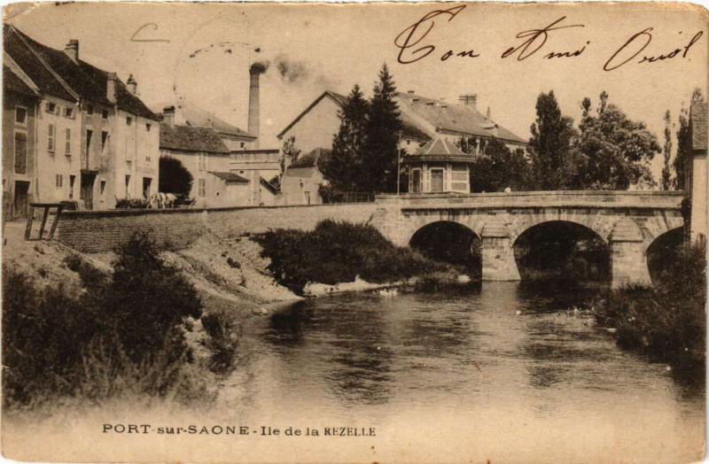 Carte postale ancienne Port-sur-Saone - Ile de la Rezelle à Port-sur-Saône