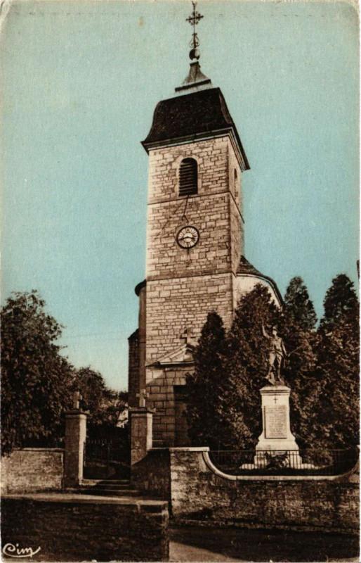 Carte postale ancienne Brussey - Eglise - Le Monument à Brussey