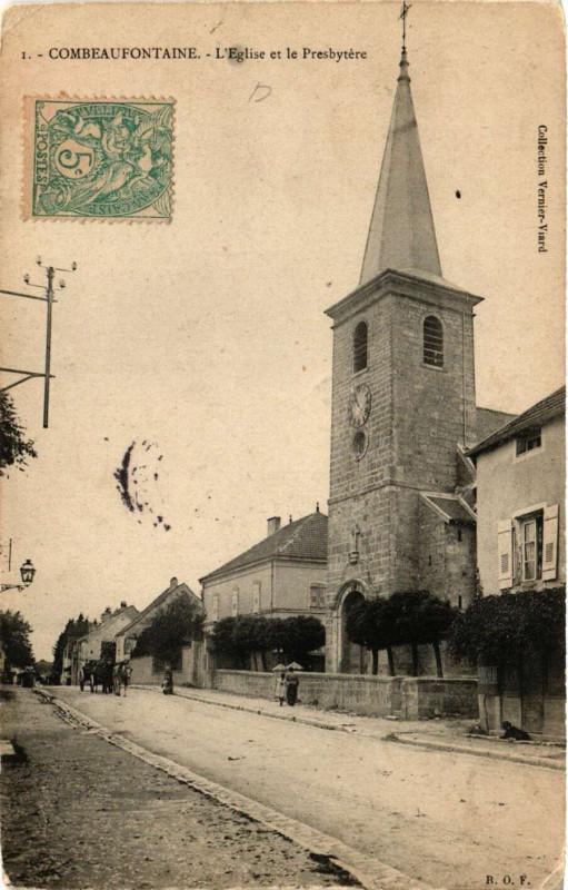 Carte postale ancienne Combeaufontaine - Eglise et le Presbytere à Combeaufontaine