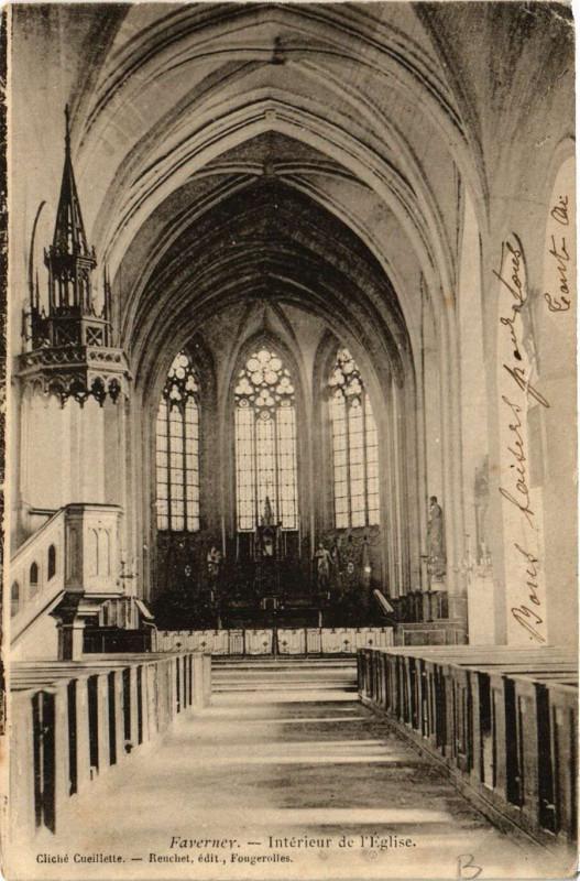 Carte postale ancienne Faverney - Intérieur de Eglise à Faverney