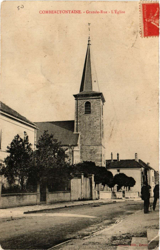 Carte postale ancienne Combeaufontaine - Grande-Rue - Eglise à Combeaufontaine