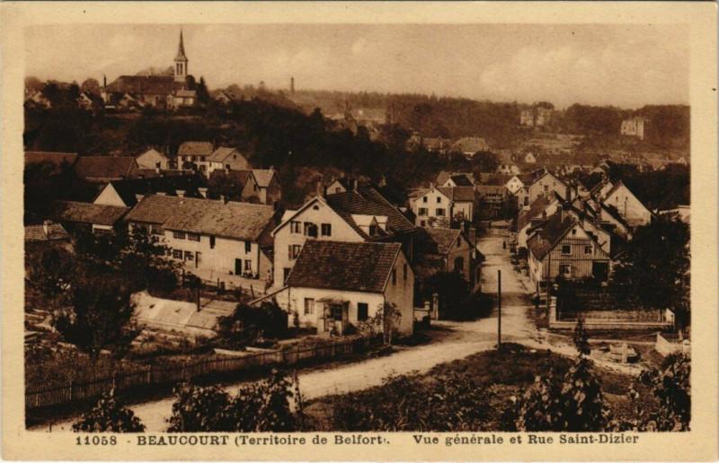 Carte postale ancienne Beaucourt - Vue générale et Rue Saint-Dizier à Beaucourt