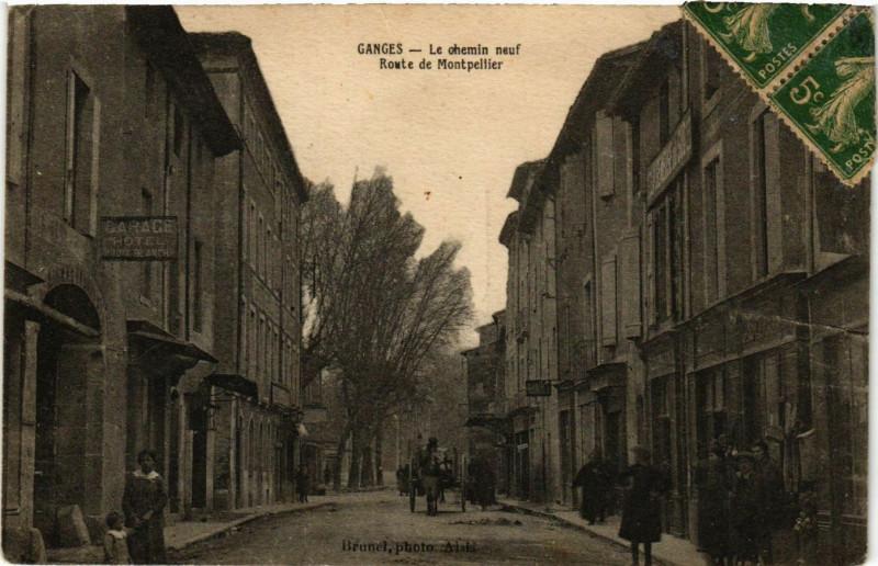 Carte postale ancienne Ganges - Le ohemin neuf Route de Montpellier à Ganges