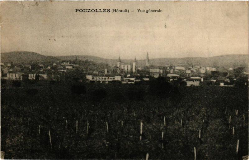 Carte postale ancienne Pouzolles (Herault) - Vue generale à Pouzolles