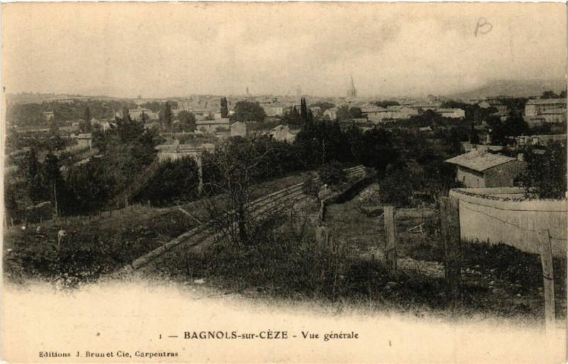Carte postale ancienne Bagnols-sur-Ceze - Vue générale à Bagnols-sur-Cèze