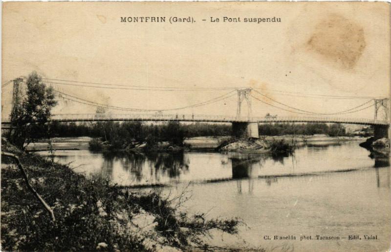 Carte postale ancienne Montfrin - Le Pont suspendu à Montfrin