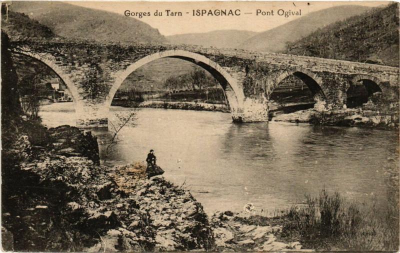 Carte postale ancienne Ispagnac - Pont Ogival - Les Gorges du Tarn à Ispagnac