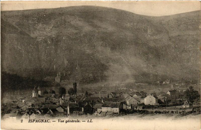 Carte postale ancienne Ispagnac - Vue générale à Ispagnac