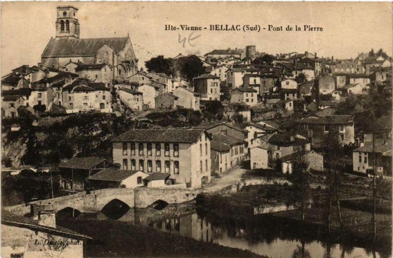 Carte postale ancienne Bellac Pont de la Pierre à Bellac