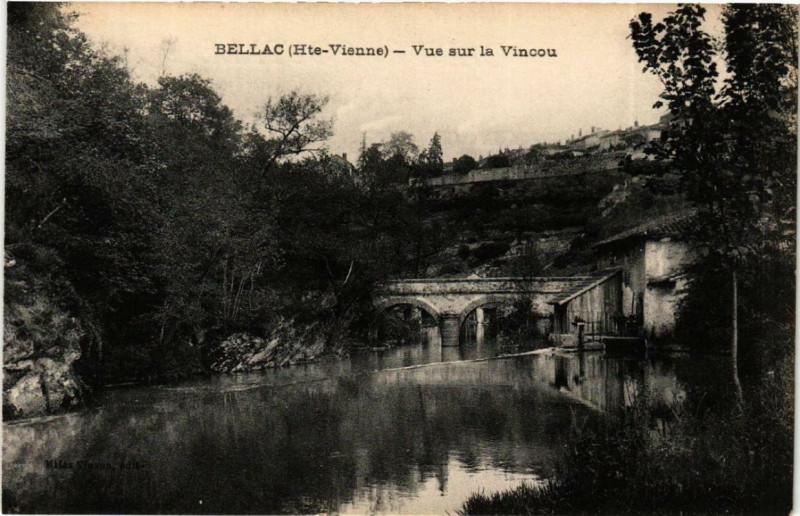 Carte postale ancienne Bellac Vue sur la Vincou à Bellac