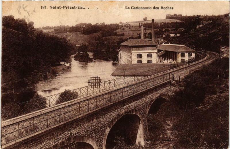 Carte postale ancienne Saint-Priest-Taurion La Cartonnerie des Roches à Saint-Priest-Taurion