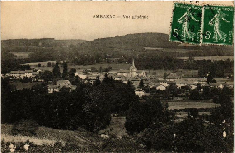Carte postale ancienne Ambazac Vue générale à Ambazac