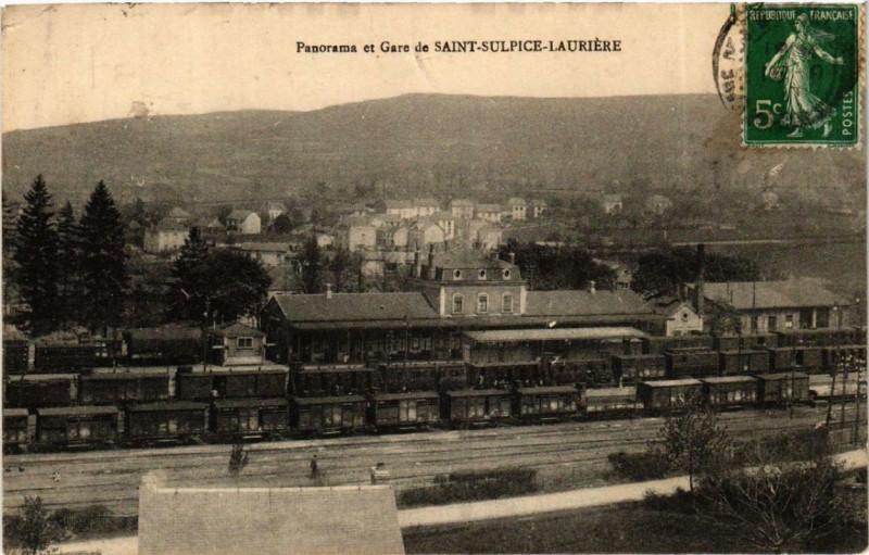 Carte postale ancienne Saint-Sulpice-Lauriere Panorama et Gare à Saint-Sulpice-Laurière