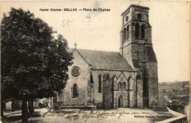 Carte postale ancienne Bellac Place de Eglise à Bellac