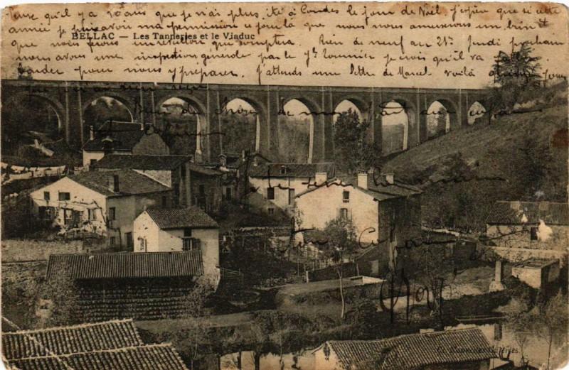Carte postale ancienne Bellac Les Tanneries et le Viaduc à Bellac