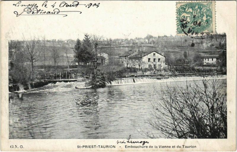 Carte postale ancienne Saint-Priest-Taurion - Embouchure de la Vienne et du Taurion à Saint-Priest-Taurion