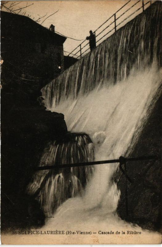 Carte postale ancienne Saint-Sulpice-Lauriere - Cascade de la Ribiere à Saint-Sulpice-Laurière
