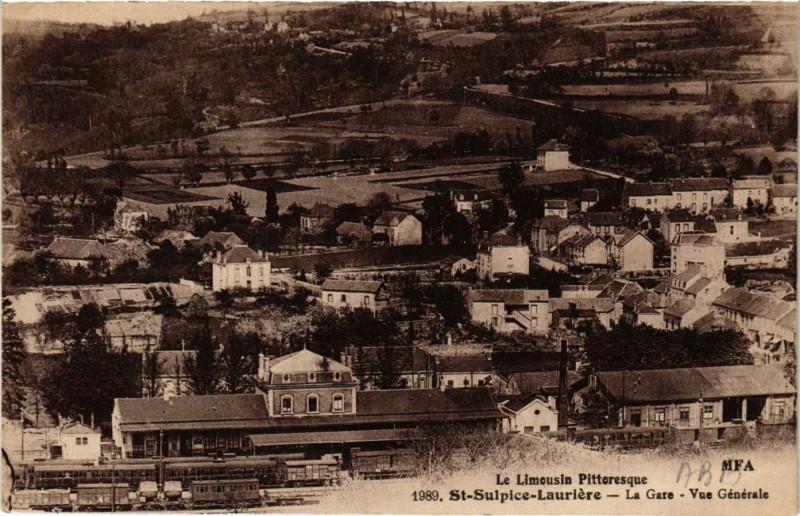 Carte postale ancienne Saint-Sulpice-Lauriere - La Gare - Vue générale à Saint-Sulpice-Laurière