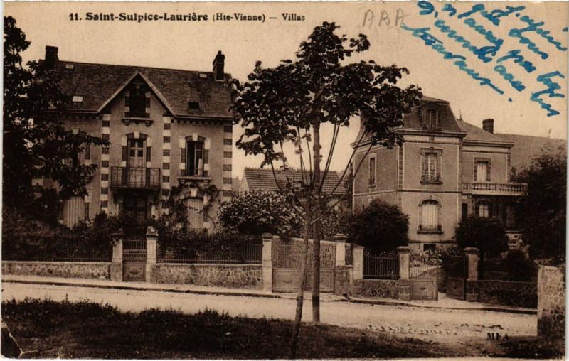 Carte postale ancienne Saint-Sulpice-Lauriere - Villas à Saint-Sulpice-Laurière