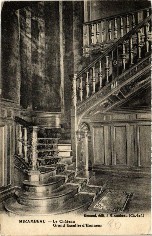 Carte postale ancienne Mirambeau - Le Chateau - Grand Escalier d'Honneur à Mirambeau