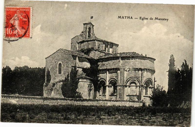 Carte postale ancienne Matha - Eglise de Marestay à Matha