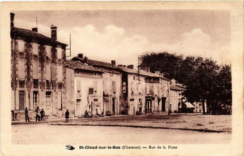 Carte postale ancienne Saint-Claud-sur-le-Son (Charente) - Rue de la Poste à Saint-Claud