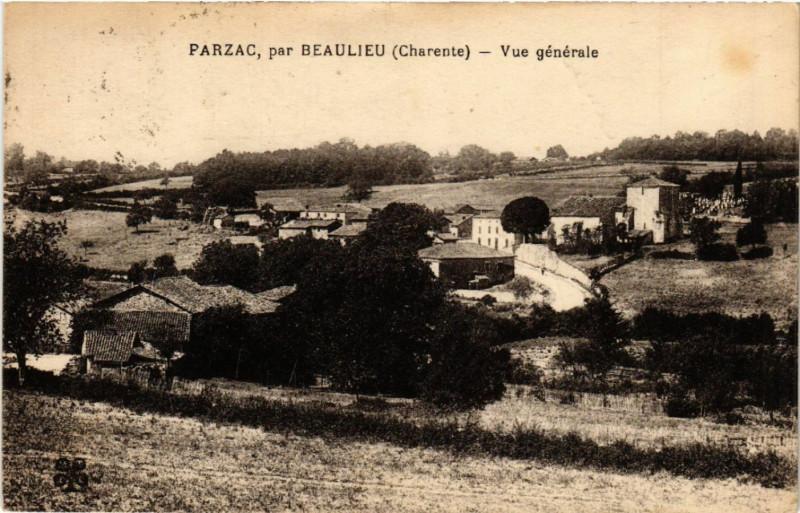 Carte postale ancienne Parzac, par Beaulieu (Charente) - Vue générale à Parzac