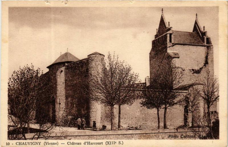 Carte postale ancienne Chauvigny Chateau d'Harcourt à Chauvigny