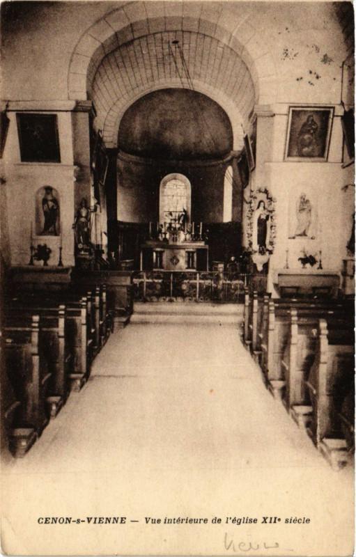 Carte postale ancienne Cenon sur Vienne - Vue Int. de l'Eglise Xii siecle à Cenon-sur-Vienne