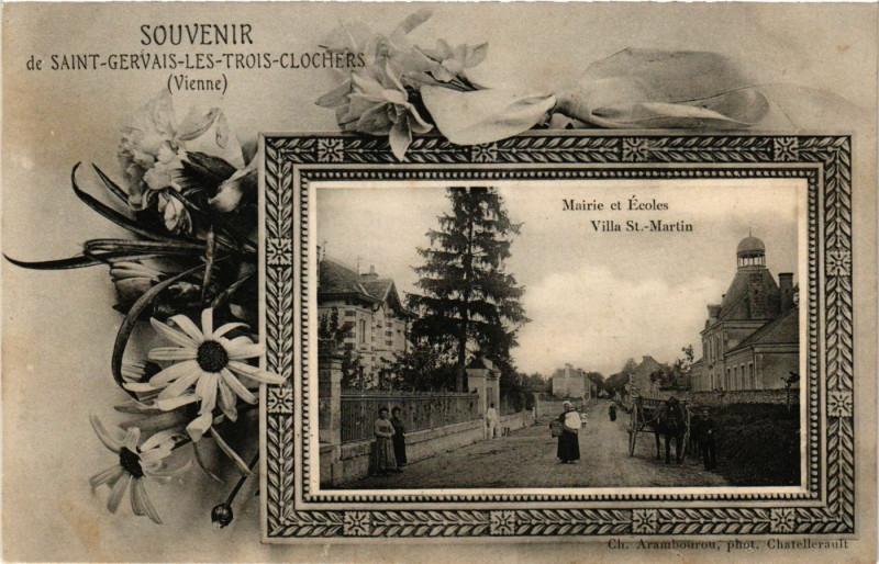 Carte postale ancienne Souvenir de Saint-Gervais-les-Trois-Clochers Mairie et Ecoles Villa à Saint-Gervais-les-Trois-Clochers