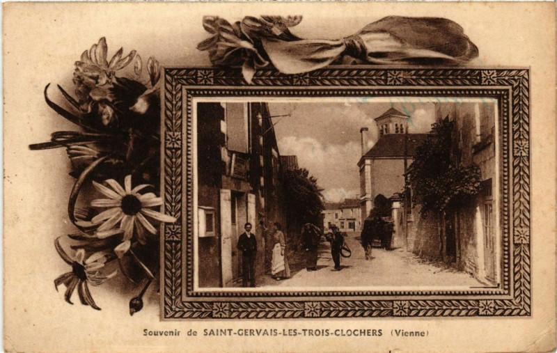 Carte postale ancienne Souvenir de Saint-Gervais-les-Trois-Clochers à Saint-Gervais-les-Trois-Clochers
