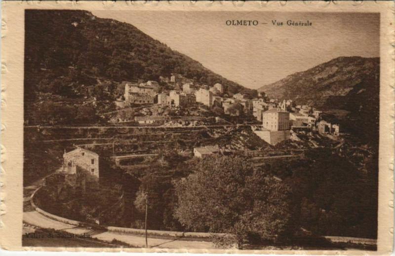 Carte postale ancienne Corse Olmeto Vue Generale à Olmeto