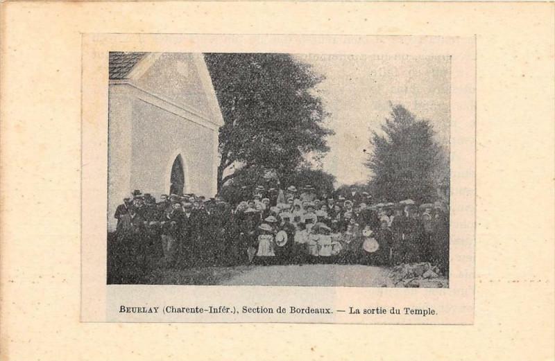 Carte postale ancienne Beurlay Section De Bordeaux La Sortie Du Temple (dos non divisé) cpa pas à Beurlay