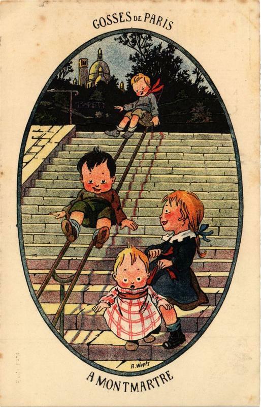 Carte postale ancienne Gosses de Paris à Montmartre à Paris 18e